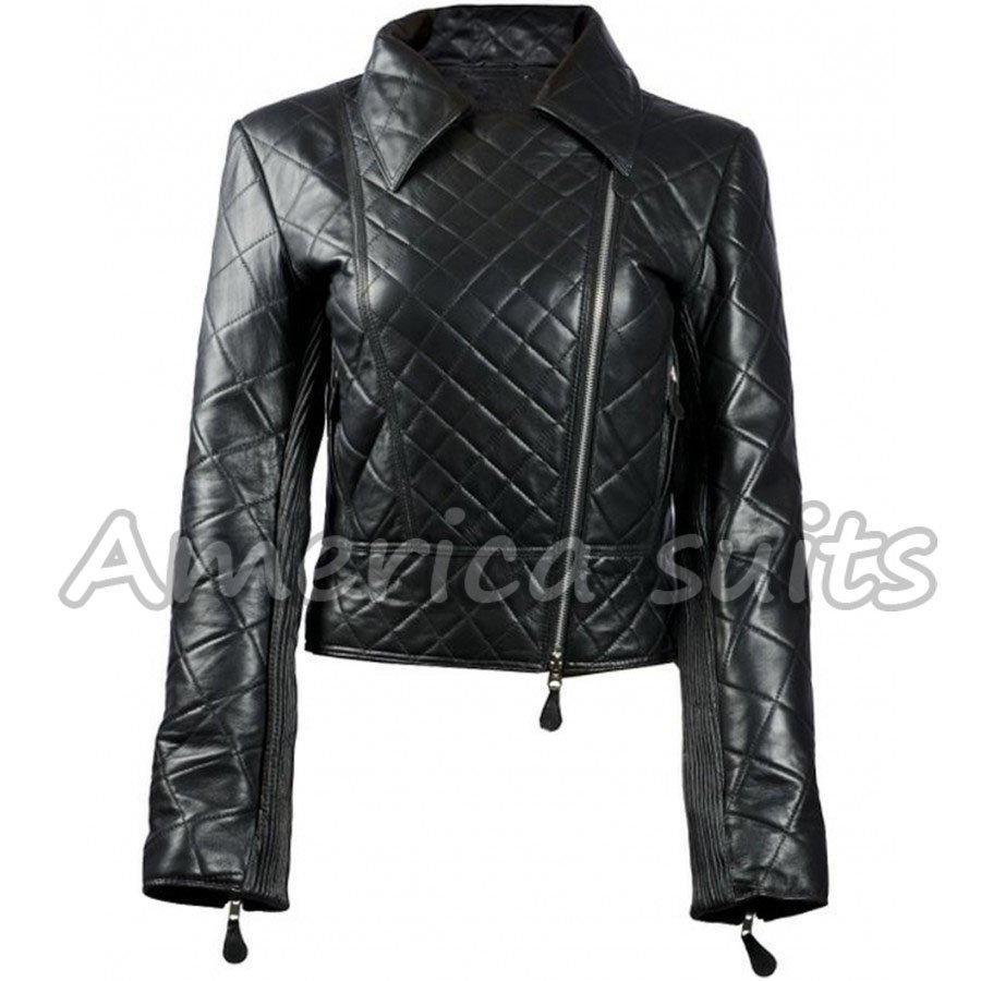 Quilted-womens-leather-biker-jacket