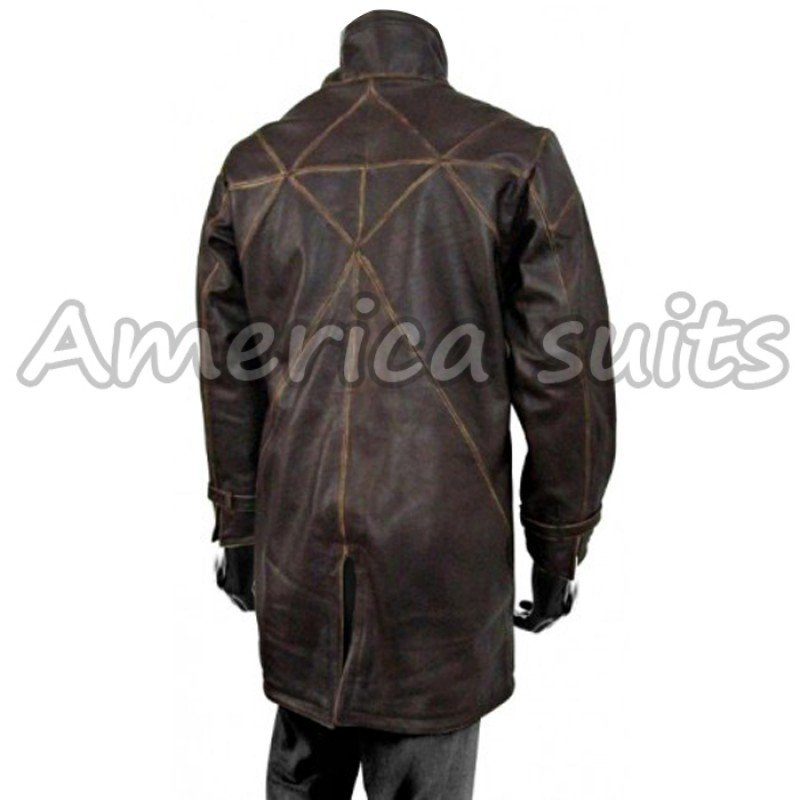 Aiden Pearce watch dog Brown Leather Coat