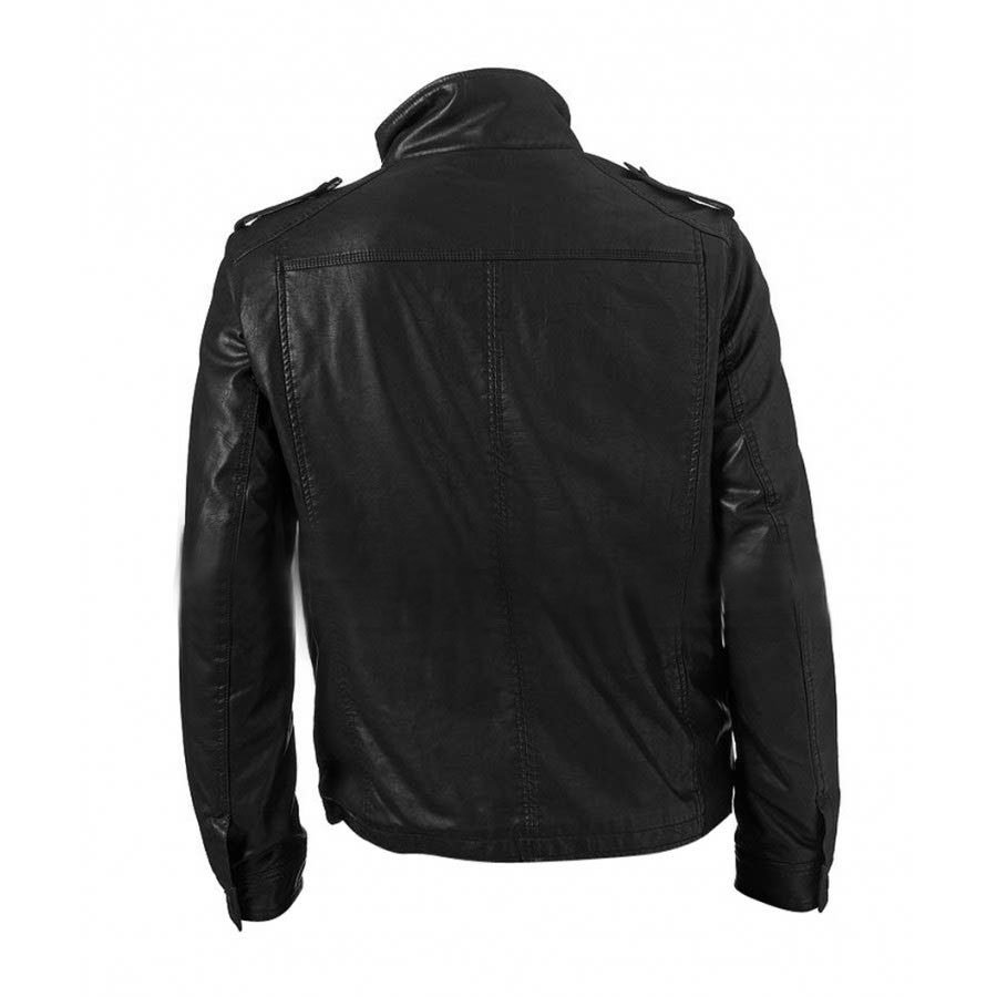 mens black faux leather jacket