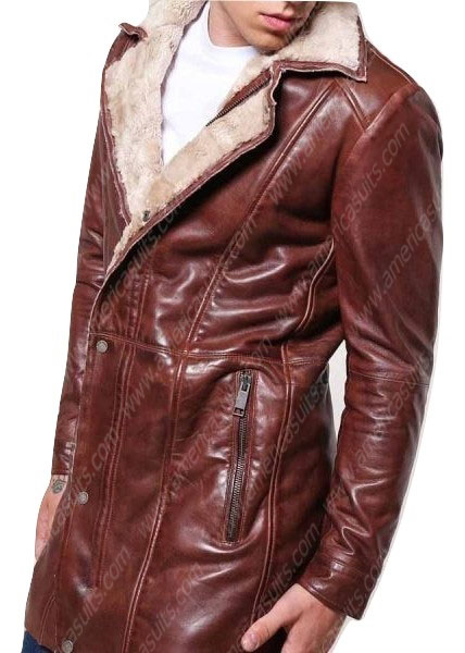 Brown Leather Mid Length Mens Faux Shearling Coat