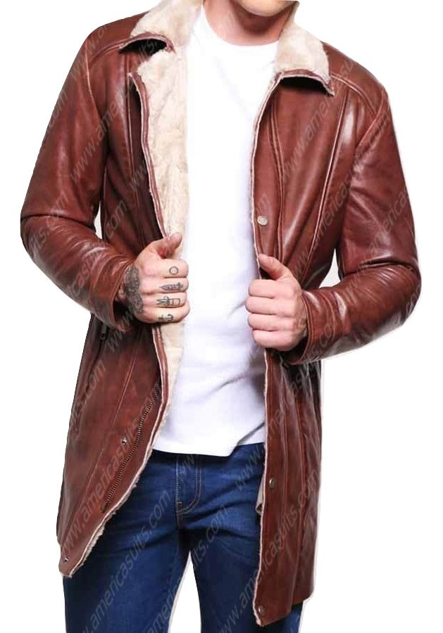 Brown-Leather-Mid-Length-Mens-Faux-Shearling-Coat-(2)