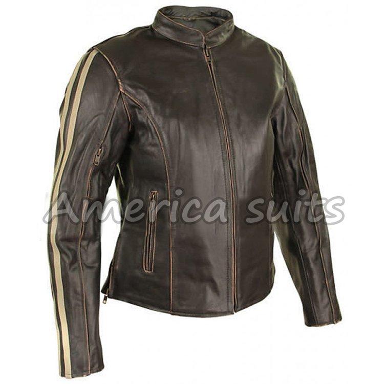 new cafe racer women leather jacket