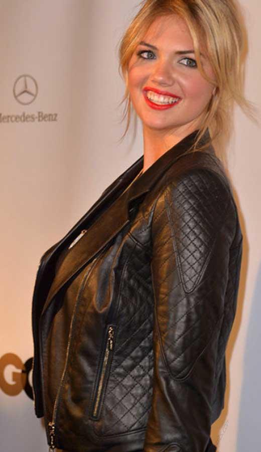 Kate Upton Black Leather Jacket