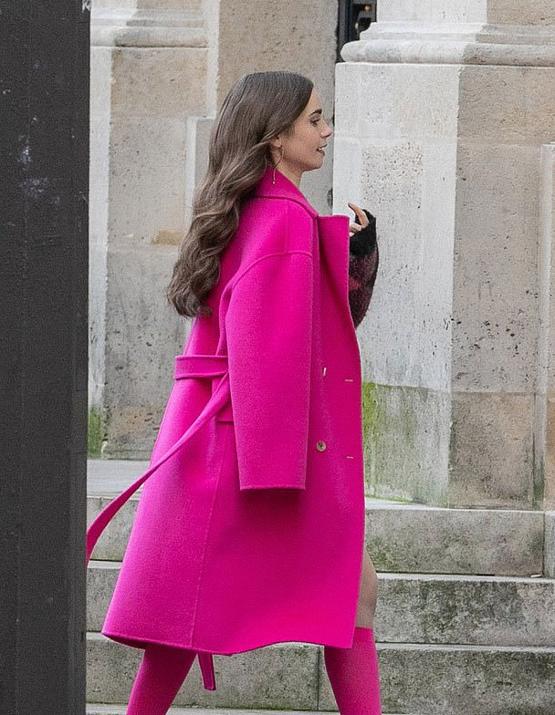 Lily-Collins-Emily-in-Paris Pink Coat