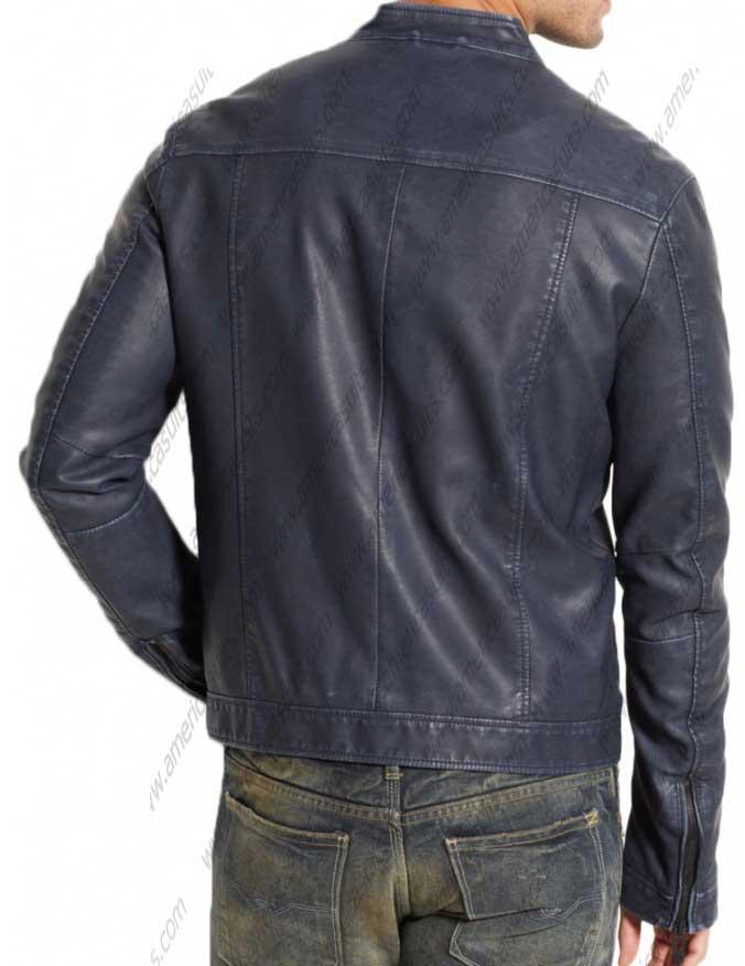 Blue Leather Biker Jacket For Men