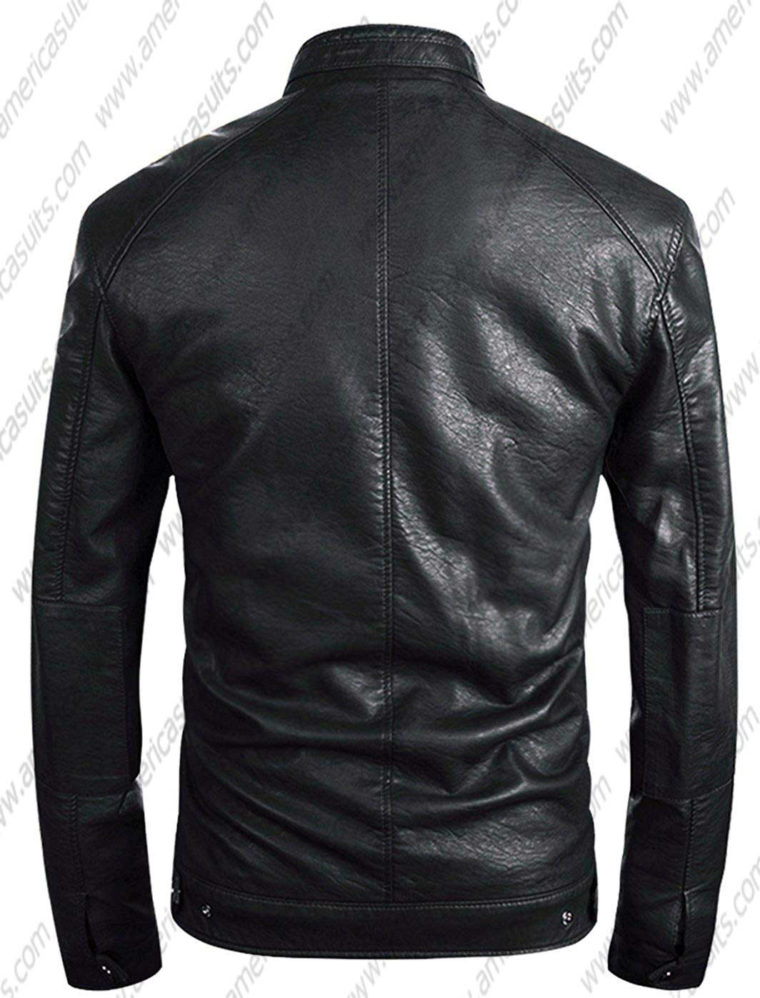 Mens-Stand-Classic-Collar-Faux-Leather-Jacket--Moto-Zip-up