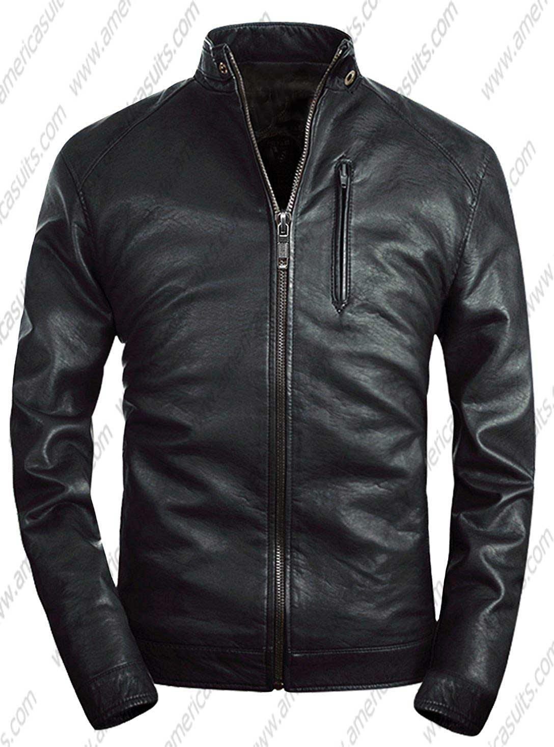 Mens-Stand-Collar-Faux-Leather-Classic-Jacket-Moto-Zip-up