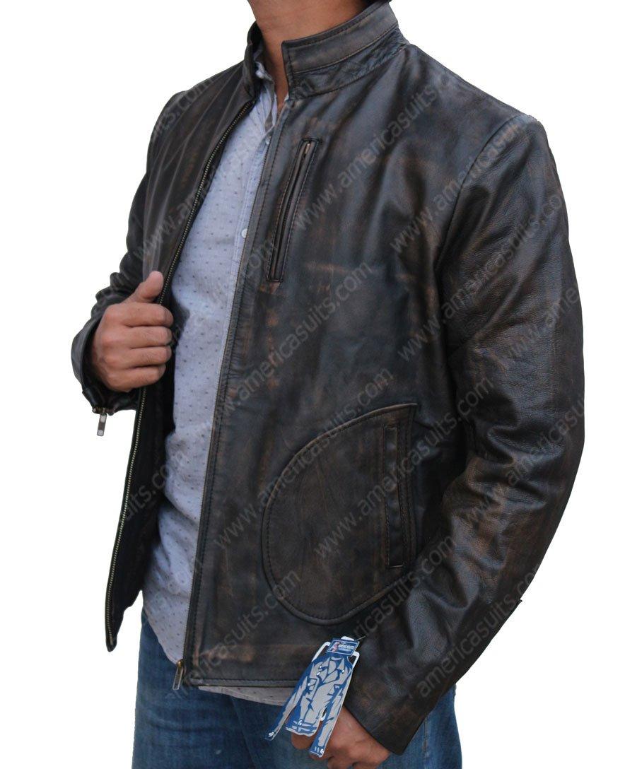 Rampage Dwayne Johnson Distressed Leather Jacket