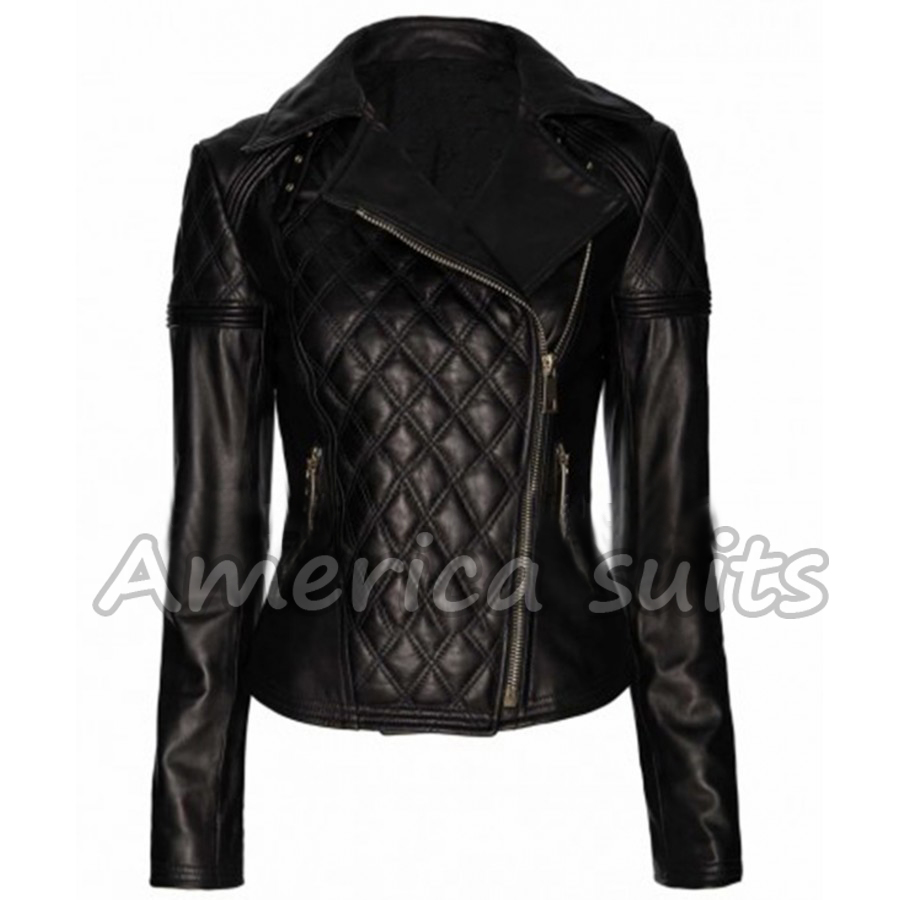 women black-quilted biker jacket
