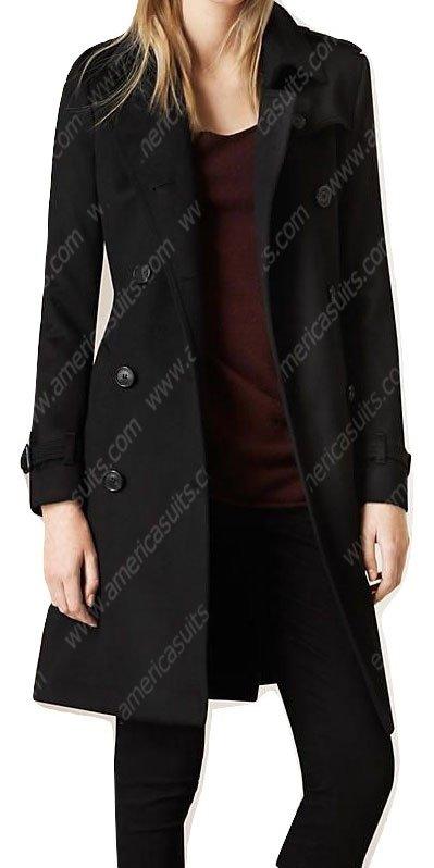 Women Black Wool Blend Trench Coat, Ladies Black Wool Trench Coat Uk